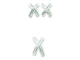 Sterling Silver Cubic Zirconia X Earrings And Pendant Set style: QST36