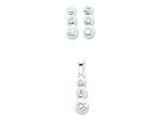 Sterling Silver 3 Stone Cubic Zirconia Earrings And Pendant Set style: QST38