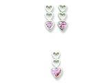Sterling Silver Pink Cubic Zirconia Heart Earrings And Pendant Set style: QST46