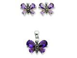 Sterling Silver Marcasite And Purple Cubic Zirconia EarringsAnd Pendent Set style: QST49