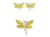 Sterling Silver Yellow Cubic Zirconia Dragonfly Earrings And Pendent Set style: QST50