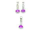 Sterling Silver Pink Cubic Zirconia Earrings And Pendant Set style: QST52