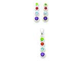 Sterling Silver Multi-colored Cubic Zirconia Earrings And Pendant Set style: QST53