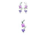 Sterling Silver Pink and Purple Cubic Zirconia Flower Earrings And Pendant Set style: QST55