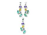 Sterling Silver Multicolored Cubic Zirconia Earrings And Pendant Set style: QST57