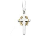 Sentimental Expressions(tm) Sterling Silver and Gold-plated No Greater Love Cross 18 Inch Necklace