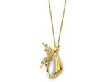 Sentimental Expressions(tm) Sterling Silver and Gold-plated Angel of Perseverance 18 Inch Necklace