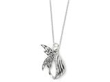 Sentimental Expressions(tm) Sterling Silver Antiqued Angel of Perseverance 18 Inch Necklace