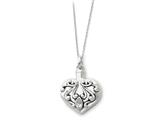 Sentimental Expressions(tm) Sterling Silver Antiqued Heart Remembrance Ash Holder 18 Inch Necklace