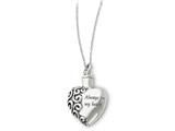 Sentimental Expressions(tm) Sterling Silver Antiqued Heart Remembrance Ash Holder 18 Inch Necklace style: QSX173