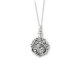 Sentimental Expressions(tm) Sterling Silver Antiqued Circle Remembrance Ash Holder 18 Inch Necklace
