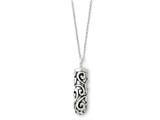Sentimental Expressions(tm) Sterling Silver Antiqued Cylinder Remembrance Ash Holder 18 Inch Necklace
