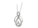 Sentimental Expressions(tm) Sterling Silver and CZ Tear of Strength 18 Inch Necklace