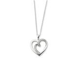 Sentimental Expressions(tm) Sterling Silver and CZ Soulmate 18 Inch Heart Necklace