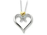 Sentimental Expressions(tm) Sterling Silver and Gold-plated Devoted 18 Inch Heart Necklace