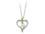 Sentimental Expressions(tm) Sterling Silver and Gold-plated Cultured Pearl Heart and Soul 18 Inch Necklace
