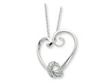 Sentimental Expressions(tm) Sterling Silver and CZ Loveknots 18 Inch Heart Necklace