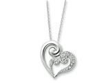 Sentimental Expressions(tm) Sterling Silver and CZ A Mothers Journey 18 Inch Heart Necklace