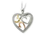 Sentimental Expressions(tm) Sterling Silver Rose and Gold-plated The Bond of Love 18 Inch Heart Necklace