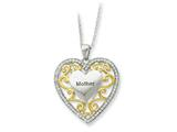 Sentimental Expressions(tm) Sterling Silver and Gold-plated Mother 18 Inch Heart Necklace