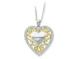 Sentimental Expressions(tm) Sterling Silver and Gold-plated Grandma 18 Inch Heart Necklace