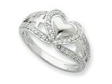 Sentimental Expressions(tm) Sterling Silver and CZ Polished Pure Heart Ring style: QSX258