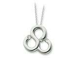 Sentimental Expressions(tm) Sterling Silver and CZ Polished Threefold Blessing 18 Inch Necklace