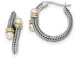 Sterling Silver W/ 14k 4mm Freshwater Cultured Pearl Hoop Earrings style: QTC1195