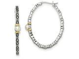 Sterling Silver W/ 14k 4.5mm Fw Cultured Oval Hoop Earrings style: QTC1196
