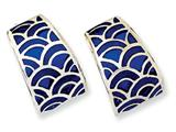 Sterling Silver Blue Resin Post Fancy Earrings style: QV462