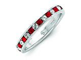 Sterling Silver Red and White Cubic Zirconia Eternity Band style: QWAB10