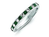 Sterling Silver Green and White Cubic Zirconia Eternity Band style: QWAB11