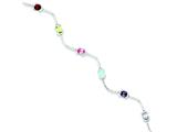 Sterling Silver Multicolored Gemstone Bracelet style: QX209CZ
