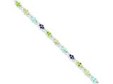 Sterling Silver Multicolored Gemstone Bracelet style: QX319CZ