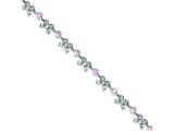 Sterling Silver 7inch Pink Cubic Zirconia Bows Bracelet style: QX410CZ