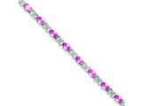 Sterling Silver 7inch Pink Cubic Zirconia Bracelet style: QX423CZ
