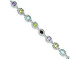Sterling Silver 6.5inch Multicolored Gemstone Bracelet style: QX473RB