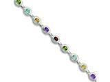 Sterling Silver 7inch Rainbow Semi Precious Stone Bracelet style: QX474RB