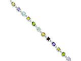 Sterling Silver 7inch Rainbow Semi Precious Stone Bracelet style: QX476RB