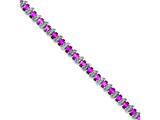 Sterling Silver 7inch Created Pink Sapphire And Diamond Bracelet style: QX484D