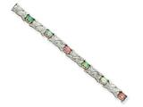 Sterling Silver 7inch Created Colored Opal And Diamond Bracelet style: QX488D