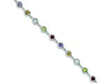"Sterling Silver 7.5"" Semi-precious and Diamond Bracelet style: QX509D"