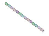 Sterling Silver 7inch Multicolored Milkstone Bracelet style: QX515CZ