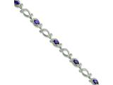 Sterling Silver Purple and Clear Cubic Zirconia Bracelet style: QX589CZ