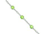 Sterling Silver Light Green Cubic Zirconia Textured Link Bracelet style: QX614CZ