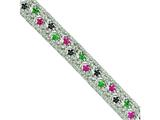 Sterling Silver Sapphire, Ruby, Emerald and Cubic Zirconia Bracelet style: QX621M