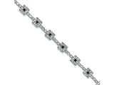 Sterling Silver Blue And Clear Cubic Zirconia Bracelet style: QX627CZ