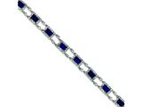 Sterling Silver Blue And Clear Cubic Zirconia Bracelet style: QX628CZ