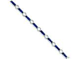 Sterling Silver Blue And Clear Cubic Zirconia Bracelet style: QX631CZ
