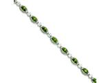 Sterling Silver 7.5inch Green and Clear Cubic Zirconia Bracelet style: QX656CZ
